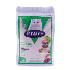 غذای خشک گربه بالغ پرامی مخصوص پوست و مو  1.5 کیلویی Pramy