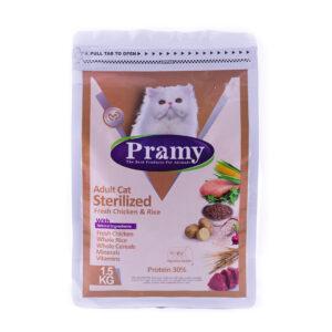 غذای خشک گربه بالغ عقیم شده پرامی مرغ و برنج 1.5 کیلویی Pramy