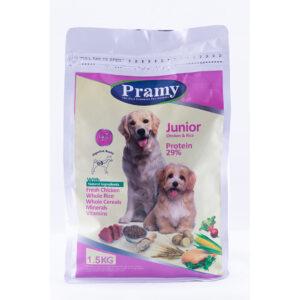غذای خشک جونیور سگ پرامی 29%مرغ و برنج 1.5کیلویی Pramy