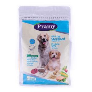 غذای خشک سگهای عقیم شده پرامی 30%مرغ و برنج 1.5کیلویی Pramy