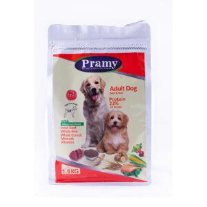 غذای خشک سگ بالغ پرامی 23%گوشت گاو و برنج 1.5کیلویی Pramy