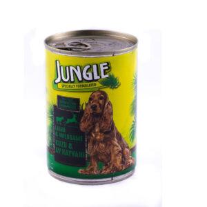 کنسرو سگ جانگل با طعم گوشت شکاری 415 گرمی Jungle