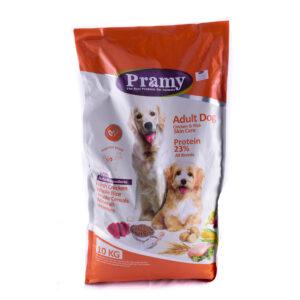 غذای خشک سگهای بالغ مراقبت از پوست پرامی 23%مرغ و برنج 10کیلویی Pramy